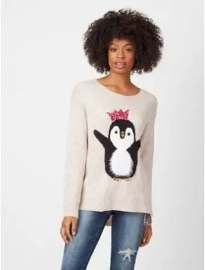 some of the best christmas jumpers to get you in the festive sprit george sequin penguin jumper