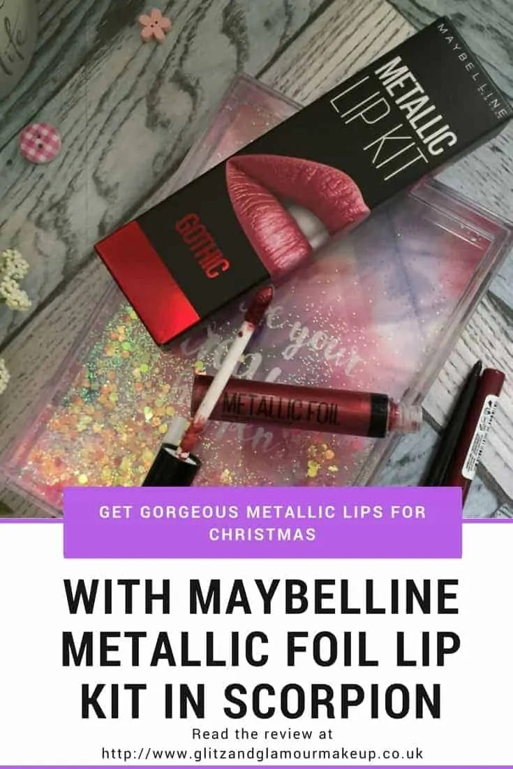 get gorgeous metallic lips for christmas with maybelline metallic foil lip kit in scorpion