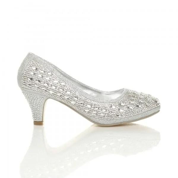 uppersole mid heel diamante gems court shoes
