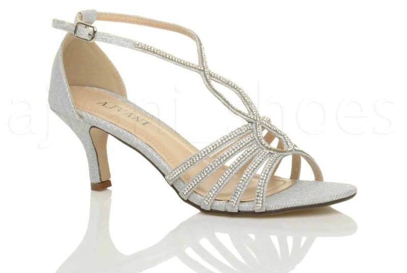 uppersole mid heel strappy diamante shoes