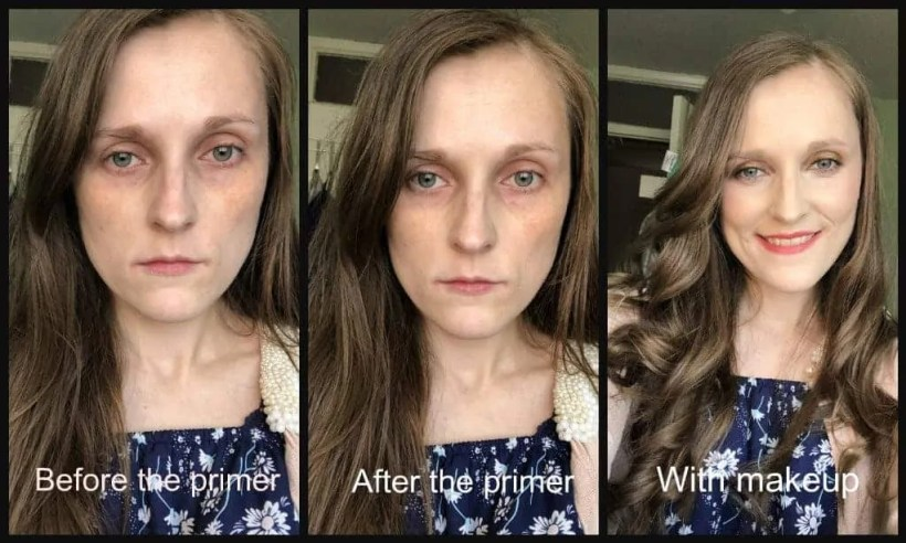 Give your skin a radiant glow with Smashbox Photo Finish foundation primer before and after
