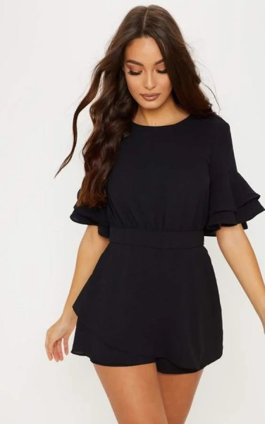 pretty little thing black fruit sleeve playsuit