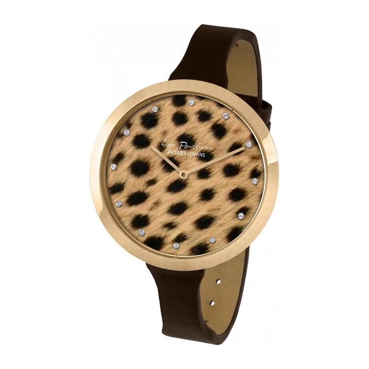 Uhr  La Passion Animalprint  Leder braun  glitzerzeitde