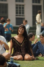 Beverly Hills High School student Rosemary Shoong in a Native American–inspired dress she made herself.