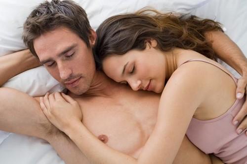 happy couple sleeping