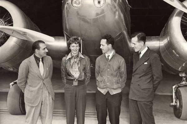 L-R: Paul Mantz, Amelia Earhart, Harry Manning and Fred Noonan, Oakland, California, March 17, 1937.