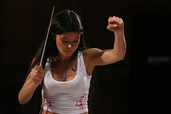 Ruslana conducting the orchestra