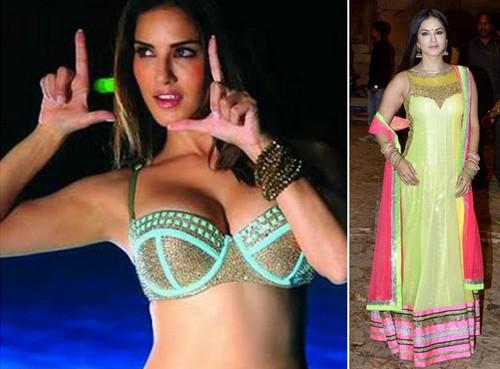 Sunny Leone in Neon Dress
