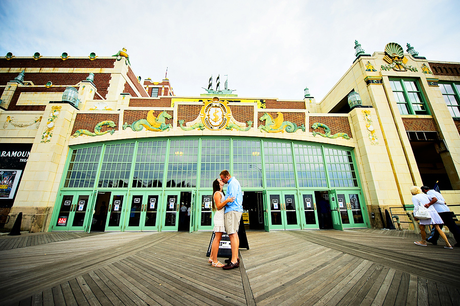 asbury park convention hall engagement portrait