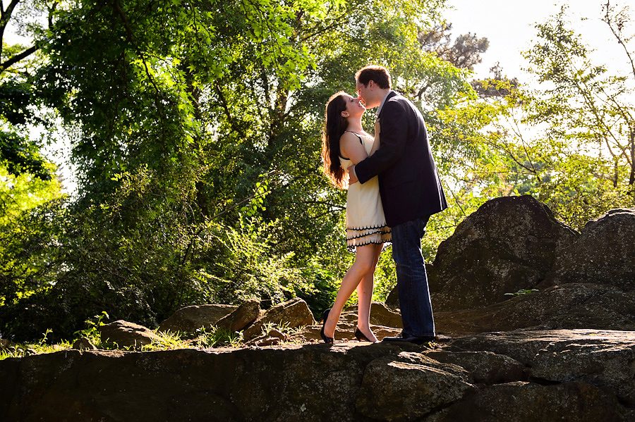 NY Botanical Gardens Engagement Couple in Sunbeam