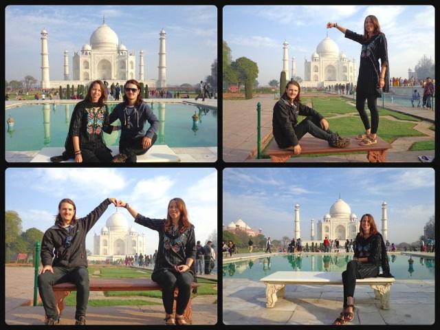 Posing in front of the Taj Mahal