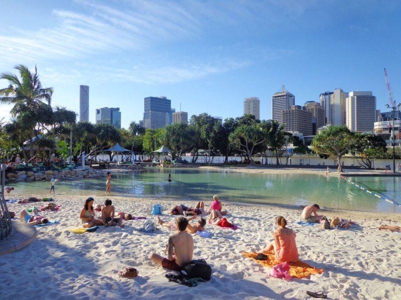 engjoy brisbane on a budget at free Streets Beach on Brisbane's South Bank