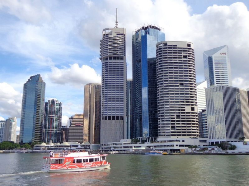 seeing brisbane on a budget on the free city hopper ferry along the Brisbane River