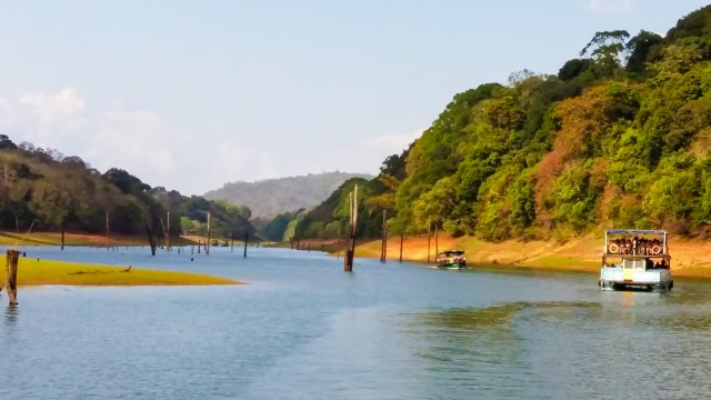 Taking a boat through Periyar Wildlife Reserve