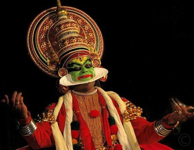 Amazing costumes and facial expressions at a Kathakali show