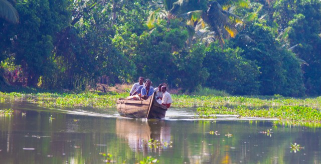 Locals getting around the kerala backwaters