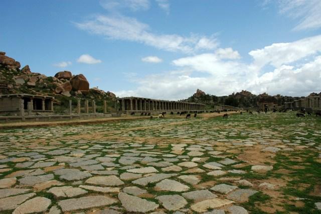The ruins of Hampi Bazaar