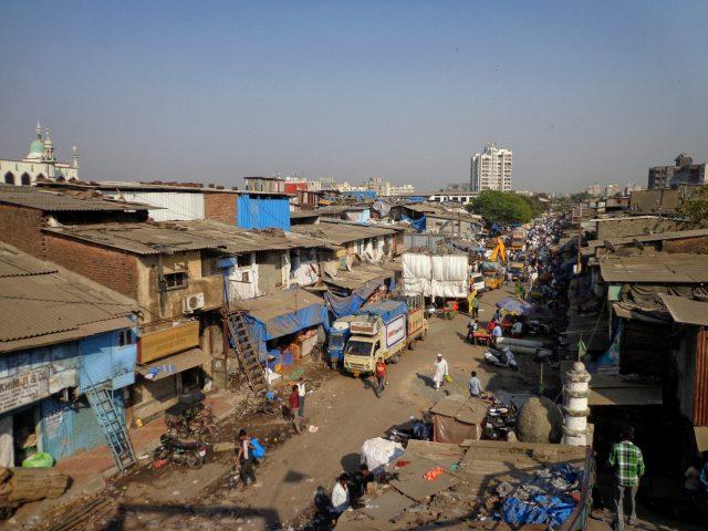Overlooking Dharavi slum in Mumbai