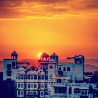 Sunset over romantic Udaipur in Rajasthan