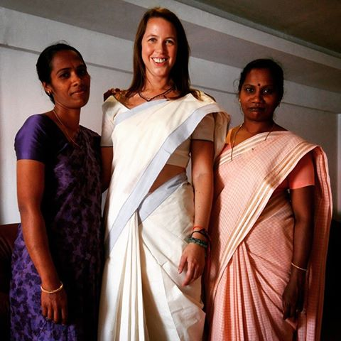 The lovely women or 'aunties' who helped me get dressed in a sari