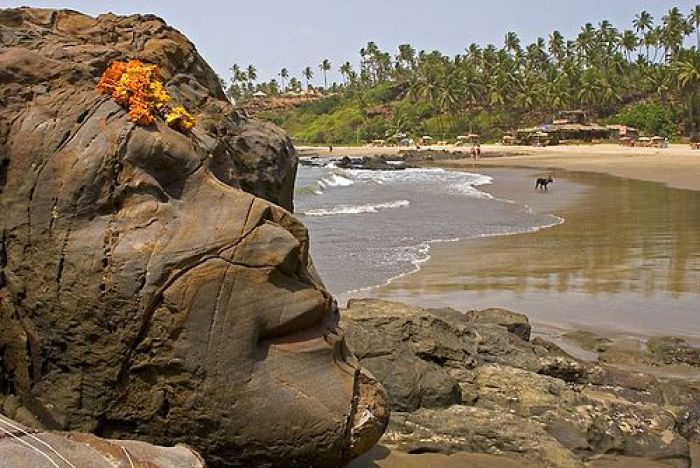 The Shiva carved into a rock on Vagator Beach, Goa,