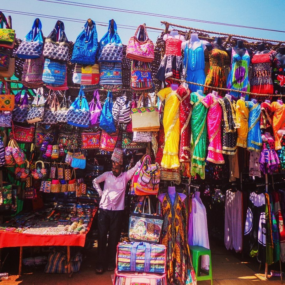 Stalls at Anjuna Flea Market, Goa, India