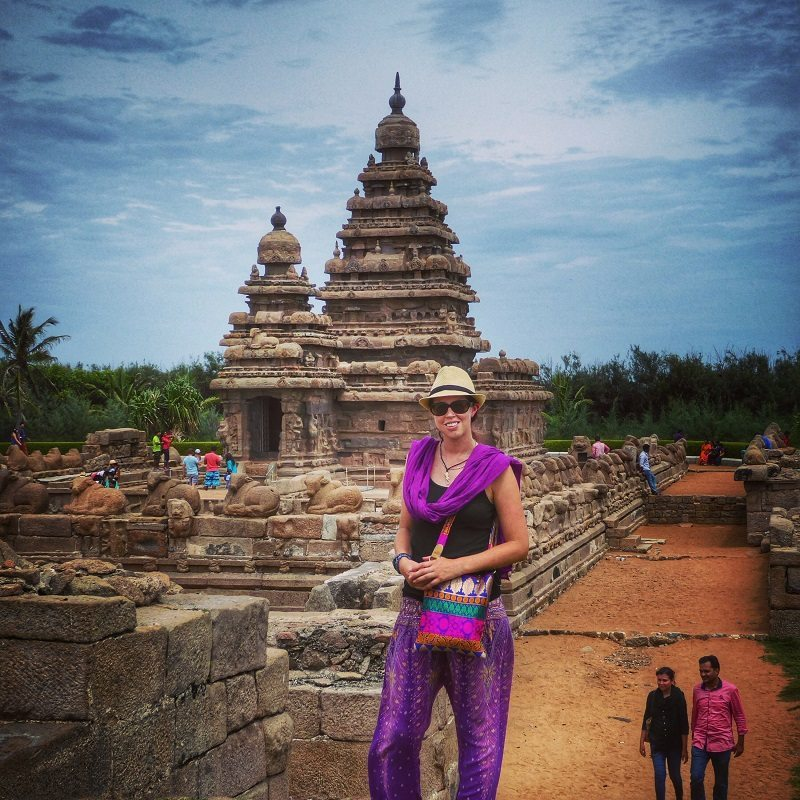 Traveling as a solo female in Tamil Nadu. At the Shore Temple in Mahabalipuram