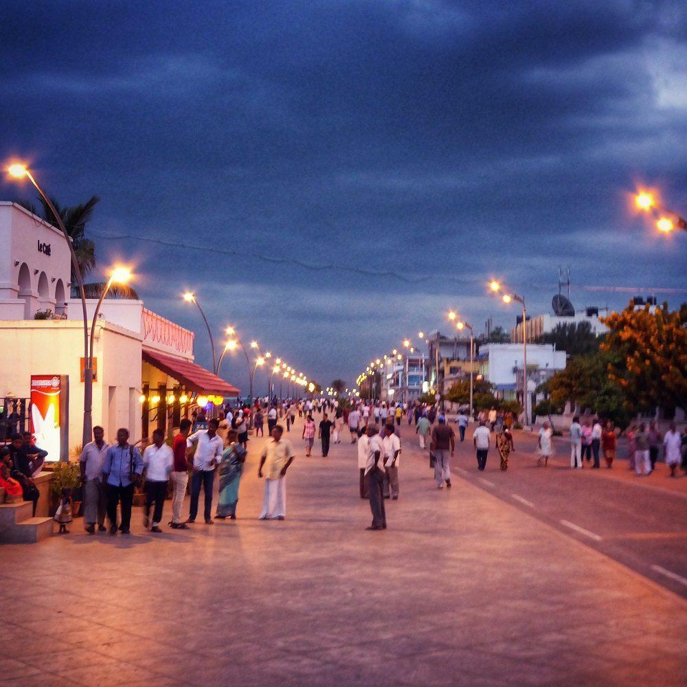 Evening on Pondicherry promanade
