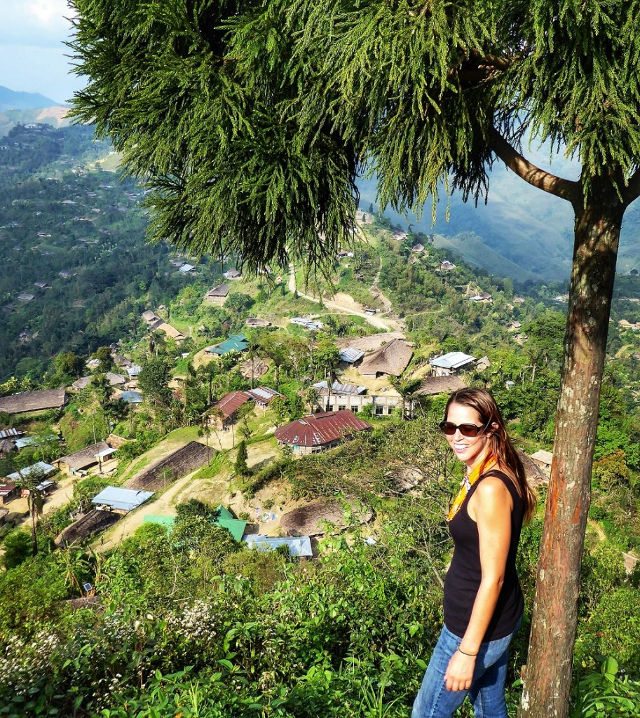 At the top of Longwa village overlooking Myanmar on one side and India on the other