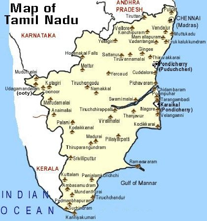Map of places to visit in Tamil Nadu