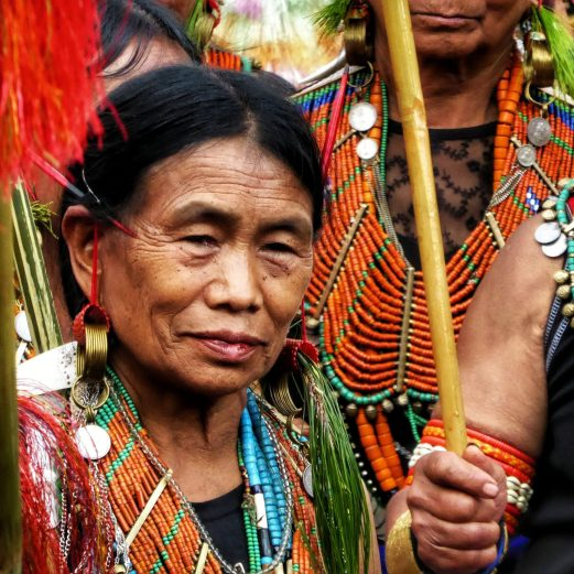 konyak woman at the aoling festival in Nagaland