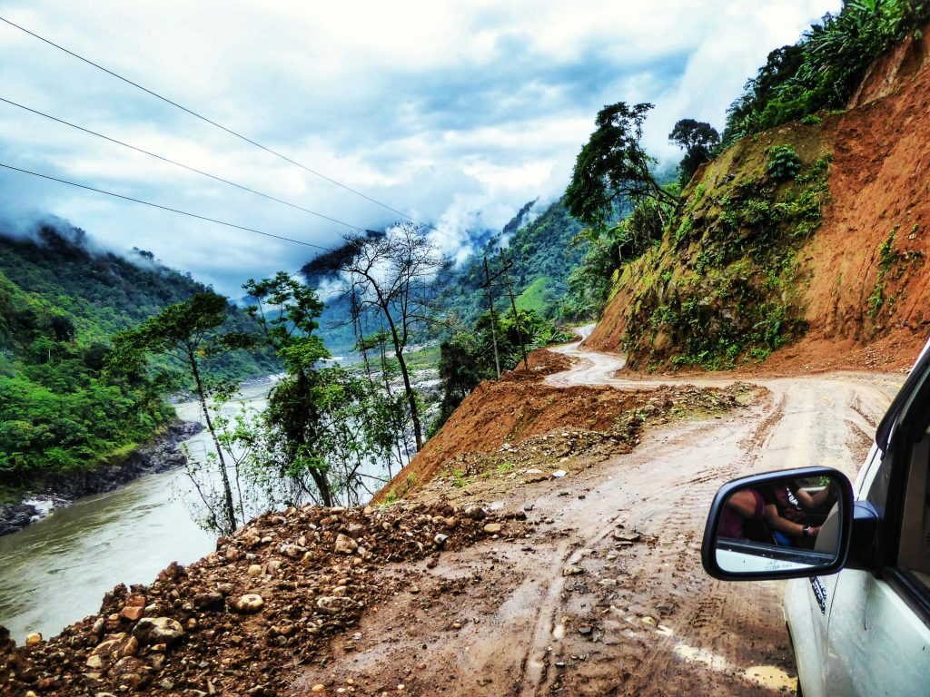 Off the beaten track! Driving through Arunachal Pradesh - you can see why it's essential to have a good car and driver!