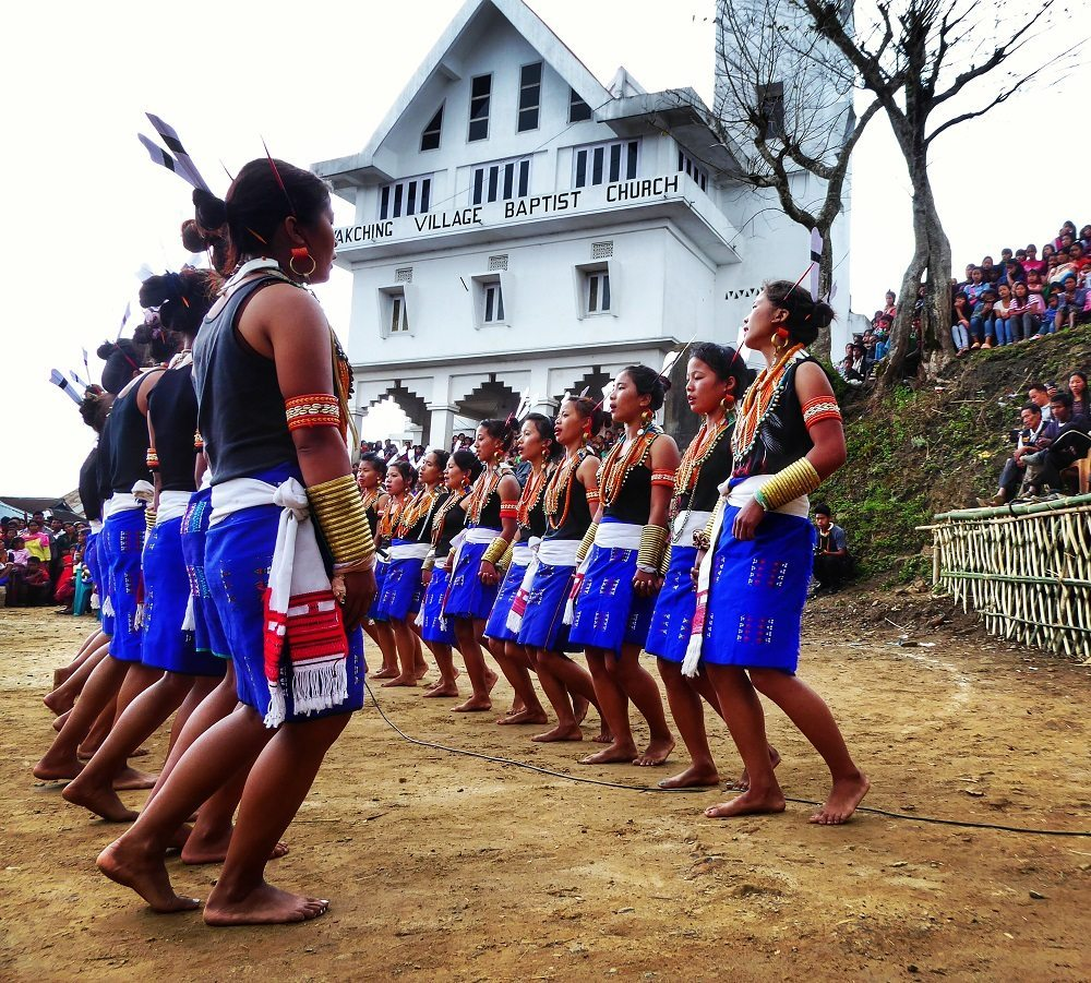 Tribal dancing for the Aoling festival in Wakching village in Nagaland