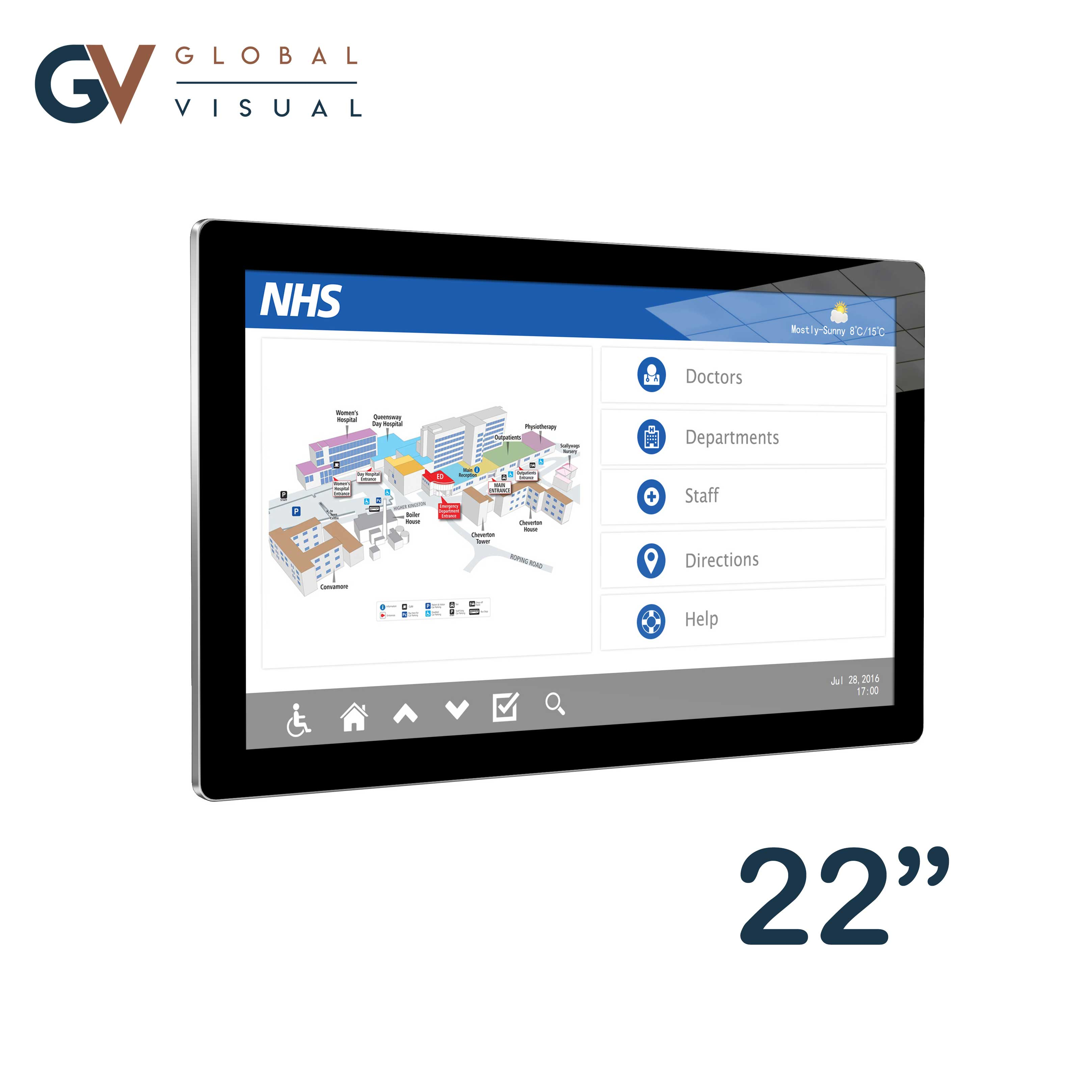 Image of a 22 Inch PCAP Touch Screen