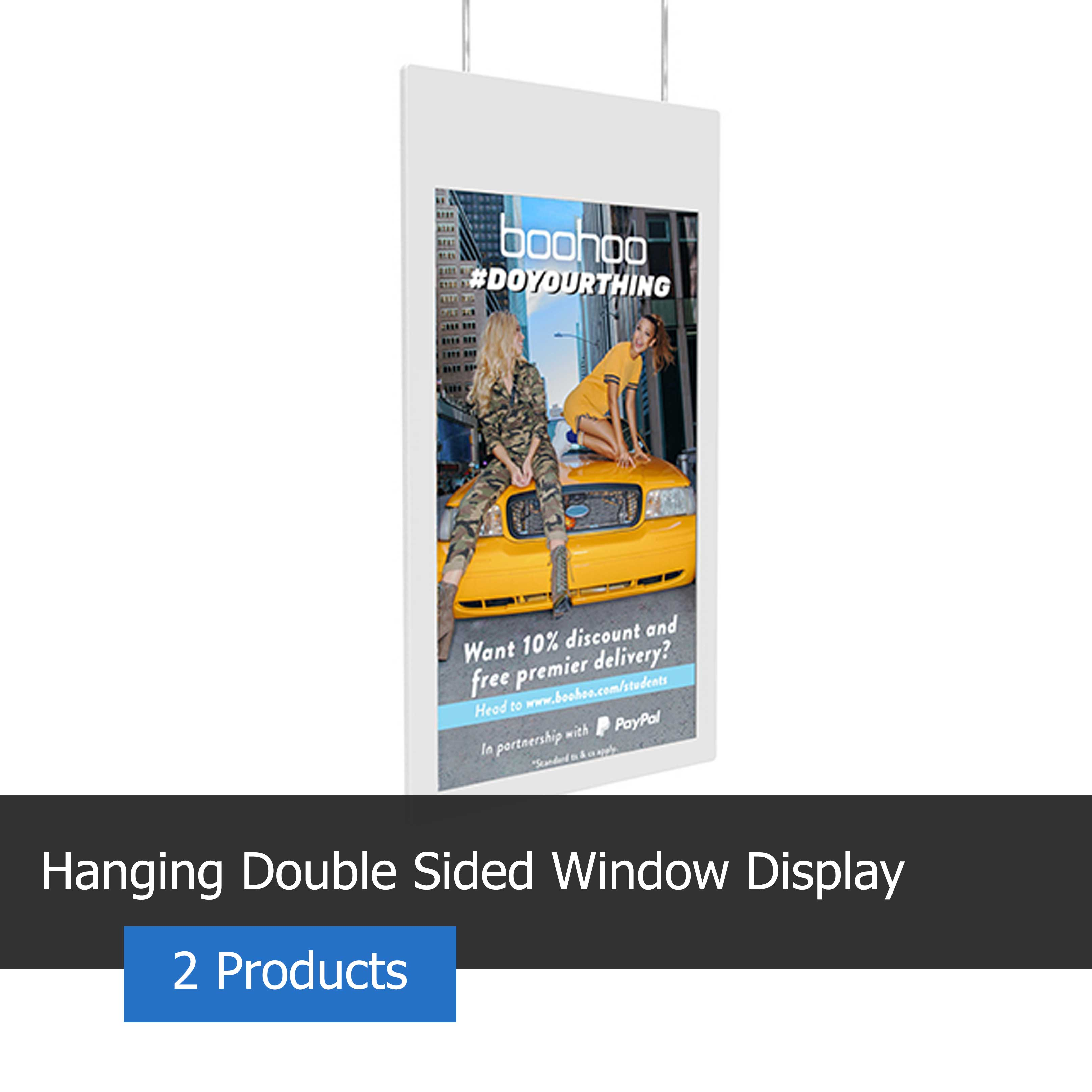 Image of a hanging double sided window display