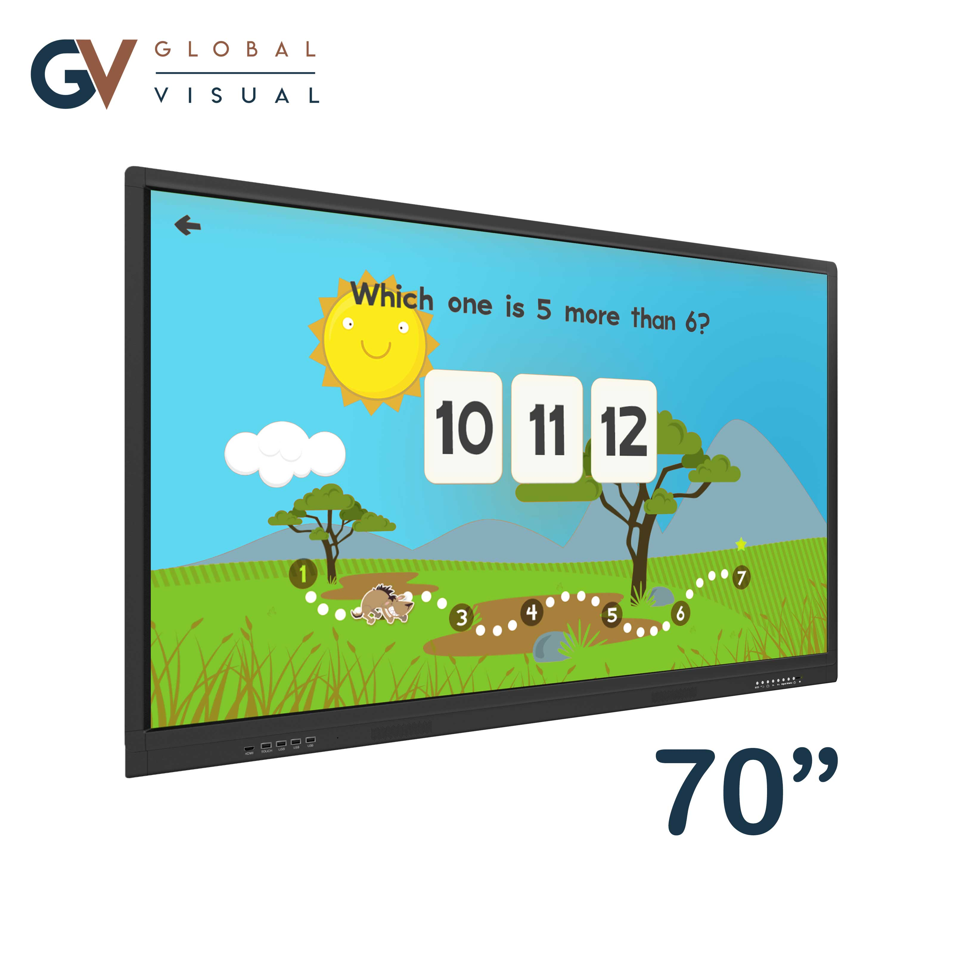 """Image of a 70"""" class room interactive touch screen"""