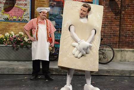 "Justin performing the ""Veganville"" sketch in a tofu costume. Photo credit: NBC"