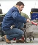 tom hardy and dog play fetch