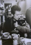 bob dylan at coffee shop with cat