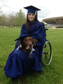 Bridget Evans and her service dog Hero in matching caps and gowns. Photo Credit: Imgur