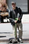 jon stewart walkig three-legged dog