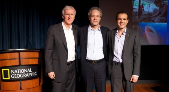 James Cameron (left) won a Nat Geo award for his successful solo dive last year. Photo Credit: NGS