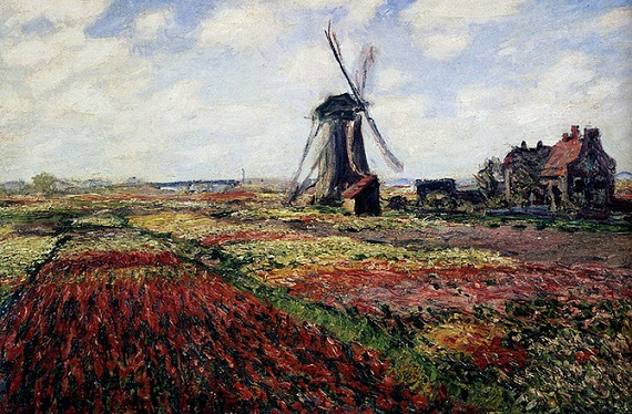 Tulip bulbs are dangerous for pets and humans. Photo Credit: Tulip Fields with the Rijnsburg Windmill, Claude Monet, Wikimedia Commons