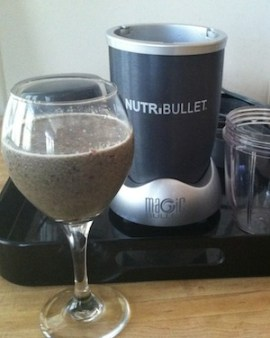 A NutriBullet spinach, kale, blueberry & apple smoothy with protein and flaxseed for an extra power boost of omega-3's./Photo credit: Lisa Singe
