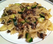 Mushrooms, zucchini and garlic are all in season at the farmers market and perfect ingredients for this tasty farfalle recipe./Photo credit: Lisa Singer