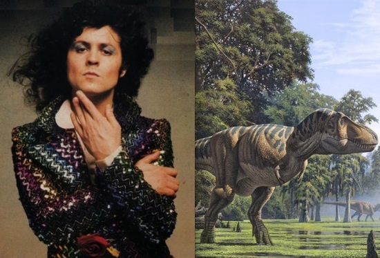 T. Rex mastermind Marc Bolan and a Tyrannosaurus rex. Photo: last.fm & wikia.com