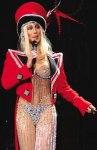 Singer Cher dressed in circus ringleader costume