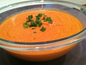 A healthy tomato soup recipe made with sweet potatoes, garlic, onion and cashews. The NutriBullet blends the ingredients into a healthy & creamy vegetarian meal./Photo credit: Lisa Singer