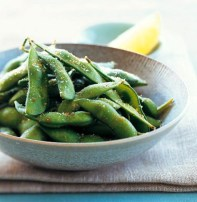 Edamame with Chile Salt is a healthy and delicious high protein snack for any occasion./Photo credit: MarthaStewart.com