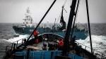 (SEA SHEPHERD/WHALING) Sea Shepherd's Bob Barker And Yushin Maru